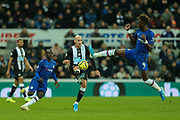 Jonjo Shelvey (#8) of Newcastle United controls the ball as Tammy Abraham (#9) of Chelsea attempts to block during the Premier League match between Newcastle United and Chelsea at St. James's Park, Newcastle, England on 18 January 2020.