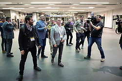 © Licensed to London News Pictures . 26/05/2019. Manchester, UK. STEPHEN YAXLEY-LENNON (aka Tommy Robinson ) arrives . The count for seats in the constituency of North West England in the European Parliamentary election , at Manchester Central convention centre . Photo credit: Joel Goodman/LNP
