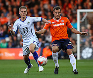 Luke Wilkinson of Luton Town (right) challenges Danny Rose of Bury (left) during the Sky Bet League 2 match at Kenilworth Road, Luton<br /> Picture by David Horn/Focus Images Ltd +44 7545 970036<br /> 19/08/2014