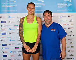 LIVERPOOL, ENGLAND - Sunday, June 18, 2017: Polona Hercog (SLO) with Marcus Gerrard during Day Four of the Liverpool Hope University International Tennis Tournament 2017 at the Liverpool Cricket Club. (Pic by David Rawcliffe/Propaganda)
