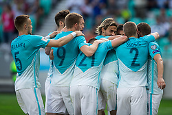 Players of Slovenia celebrates after Josip Ilicic of Slovenia scored first goal during football match between National teams of Slovenia and Malta in Round #6 of FIFA World Cup Russia 2018 qualifications in Group F, on June 10, 2017 in SRC Stozice, Ljubljana, Slovenia. Photo by Vid Ponikvar / Sportida