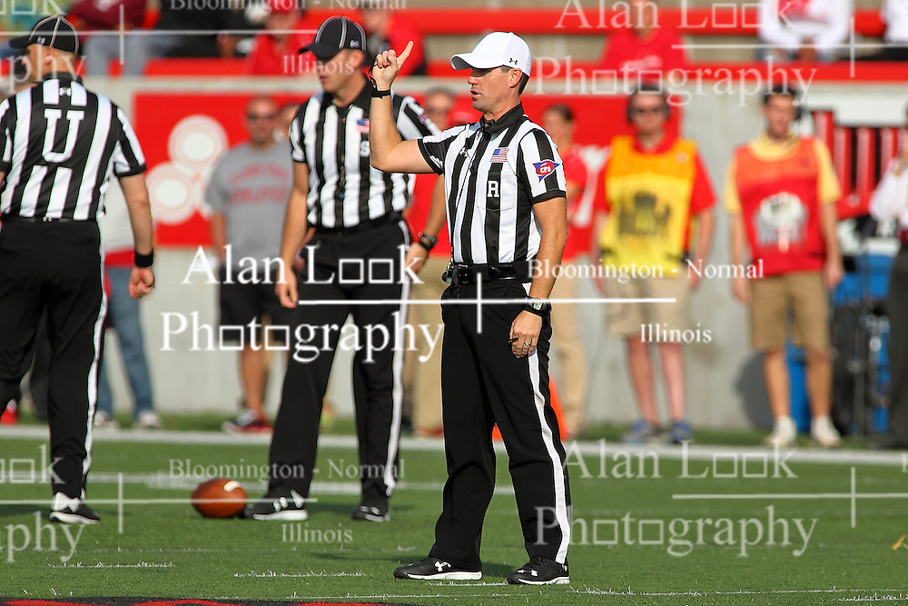 29 October 2016:  Jeff Johnson and Side Judge Ken Cloud stands by as Referee Rich Edwards makes a call. NCAA FCS Football game between South Dakota State Jackrabbits and Illinois State Redbirds at Hancock Stadium in Normal IL (Photo by Alan Look)
