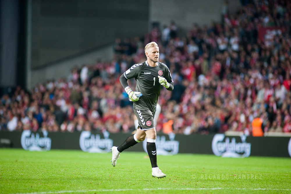 01.09.2017. Copenhagen, Denmark. <br /> Kasper Schmeichel goalkeeper of Denmark during the FIFA 2018 World Cup Qualifier between Denmark and Poland at Parken Stadion.<br /> Photo: © Ricardo Ramirez.