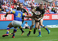 Josh Charnley of Warrington Wolves and Ryan Hall of Leeds Rhinos in action during the Ladbrokes Challenge Cup Semi Final match at the Macron Stadium, Bolton<br /> Picture by Michael Sedgwick/Focus Images Ltd +44 7900 363072<br /> 05/08/2018