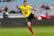SYDNEY, AUSTRALIA - APRIL 13: Western Sydney Wanderers midfielder Mitchell Duke (12) shoots a goal during warm up at round 25 of the Hyundai A-League Soccer between Western Sydney Wanderers and Sydney FC  on April 13, 2019 at ANZ Stadium in Sydney, Australia. (Photo by Speed Media/Icon Sportswire)
