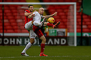 Coventry City defender Aaron Martin  and Sheffield United forward, on loan from Derby County, Conor Sammon  during the Sky Bet League 1 match between Sheffield Utd and Coventry City at Bramall Lane, Sheffield, England on 13 December 2015. Photo by Simon Davies.