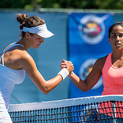 August 22, 2016, New Haven, Connecticut: <br /> Sophie Chang and Sanaz Marzand shake hands following the US Open National Playoffs women's singles finals match on Day 4 of the 2016 Connecticut Open at the Yale University Tennis Center on Monday August  22, 2016 in New Haven, Connecticut. <br /> (Photo by Billie Weiss/Connecticut Open)