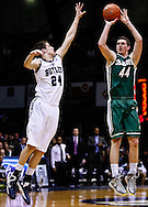 INDIANAPOLIS, IN - FEBRUARY 13: As Kellen Dunham #24 of the Butler Bulldogs defends Ivan Benkovic #44 of the Charlotte 49ers shoots the ball at Hinkle Fieldhouse on February 13, 2013 in Indianapolis, Indiana. Charlotte defeated Butler 71-67. (Photo by Michael Hickey/Getty Images) *** Local Caption *** Kellen Dunham; Ivan Benkovic