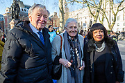 Lord Alf Dubs, Vanessa Redgrave CBE and Diane Abbot MP join supporters of the Child Refugee charity Safe Passage calling on Peers in the House of Lords to back an amendment and uphold refugee family reunion on the 20th of January 2020, Parliament Square, Westminster, London, United Kingdom. 95% of the children currently receiving legal support from the charity Safe Passage International to reunite with relatives in the UK would not be eligible for family reunion under current UK Immigration Rules. (photo by Andrew Aitchison / In Pictures via Getty Images)