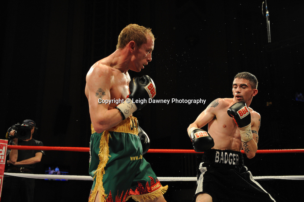 Jamie Arthur (green shorts) defeats Kris Matthew Hughes at The Troxy, Limehouse, London, 16th October 2010. Frank Maloney Promotions © Photo credit: Leigh Dawney