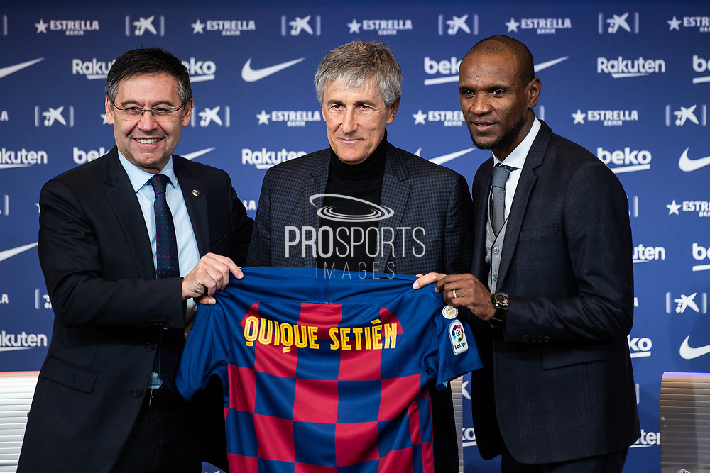 Presentation Quique Setien, new coach of FC Barcelona with FC Barcelona president Josep Maria Bartomeu and Sport Director Eric Abidal on January 14, 2020 at Camp Nou in Barcelona, Spain - Photo Marc Gonzalez Aloma / Spain ProSportsImages / DPPI / ProSportsImages / DPPI