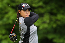 May 26, 2018 - Ann Arbor, Michigan, United States - Moriya Jutanugarn of Bangkok, Thailand follows her shot from the 5th tee during the third round of the LPGA Volvik Championship at Travis Pointe Country Club, Ann Arbor, MI, USA Saturday, May 26, 2018. (Credit Image: © Amy Lemus/NurPhoto via ZUMA Press)