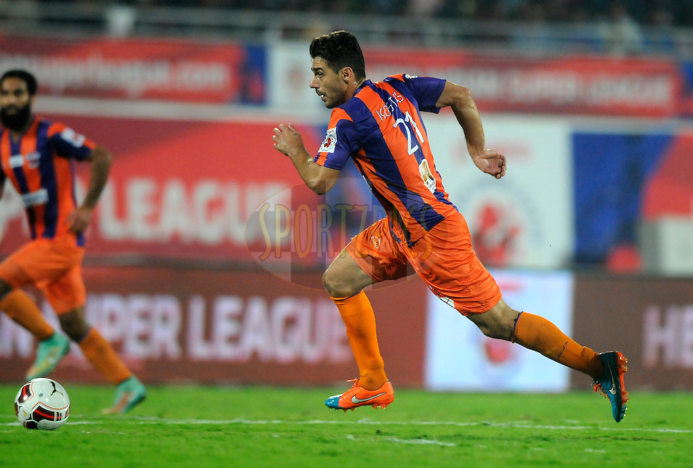 Kostas Katsouranis of FC Pune City in action during match 44 of the Hero Indian Super League between FC Pune City and Atletico de Kolkata FC held at the Shree Shiv Chhatrapati Sports Complex Stadium, Pune, India on the 29th November 2014.<br /> <br /> Photo by:  Pal Pillai/ ISL/ SPORTZPICS