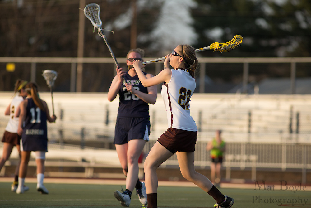 Rowan University Junior Colleen Nauss (22) - Drew University Women's Lacrosse at Rowan University at Richard Wacker Stadium  in Glassboro, NJ on Tuesday April 9, 2013. (photo / Mat Boyle)