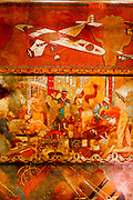 This section of the huge &quot;Transport and Human Endeavor&quot; mural on the ceiling of the Chrylser Building's main lobby depicts scenes of heroic industrialism and early 20th Century transportation including aircraft of the period.<br /> <br /> Some of the scenes are said to depict the construction of the Chrysler building itself,<br /> <br /> The canvas mural was painted by Edward Trumbull in 1929, but was given a polyurethane coating in 1970 that darkened it, making it hard to see until a costly restoration in 1999.