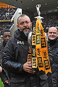 Wolverhampton Wanderers manager Nuno Espirito Santo with the trophy during the EFL Sky Bet Championship match between Wolverhampton Wanderers and Sheffield Wednesday at Molineux, Wolverhampton, England on 29 April 2018. Picture by Alan Franklin.