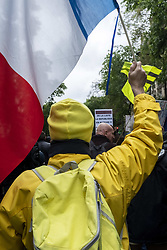 May 4, 2019 - Paris, France - A Yellow Vest waved a French flag in the middle of the crowd during the Yellow Vests Act 25 demonstration where nearly 1500 people demonstrated against the government's policy, in a calm atmosphere, in Paris this Saturday, May 4, 2019 between Lariboisière Hospital and Place de la Nation, but under a very strong police escort. (Credit Image: © Samuel Boivin/NurPhoto via ZUMA Press)