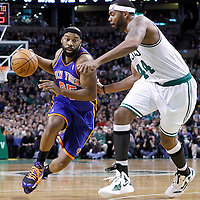 04 March 2012: New York Knicks point guard Baron Davis (85) drives past Boston Celtics power forward Chris Wilcox (44) during the Boston Celtics 115-111 (OT) victory over the New York Knicks at the TD Garden, Boston, Massachusetts, USA.