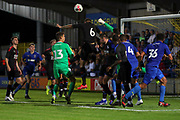 AFC Wimbledon goalkeeper Nicola Tzanev (13) up for a corner during the Pre-Season Friendly match between AFC Wimbledon and Crystal Palace at the Cherry Red Records Stadium, Kingston, England on 30 July 2019.