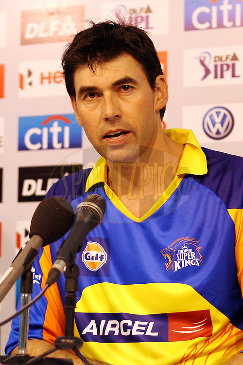 Stephen Fleming during the press conference after match 1 of the the Indian Premier League ( IPL) 2012  between The Chennai Superkings and The Mumbai Indians held at the M. A. Chidambaram Stadium in Chennai on the 4th April 2012..Photo by Jacques Rossouw/IPL/SPORTZPICS