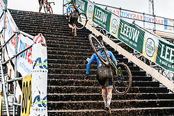 Alice Maria ARZUFFI of Italy walking the stairs during last lap of Women Elite race, UCI Cyclo-cross World Championships at Valkenburg, the Netherlands, 3 February 2018. Photo by Pim Nijland / PelotonPhotos.com | All photos usage must carry mandatory copyright credit (Peloton Photos | Pim Nijland)