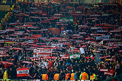MANCHESTER, ENGLAND - Tuesday, March 13, 2018: Sevilla supporters before the UEFA Champions League Round of 16 2nd leg match between Manchester United FC and Sevilla FC at Old Trafford. (Pic by David Rawcliffe/Propaganda)