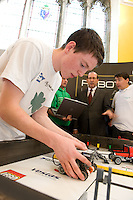 Students from Colaiste na Coiribe at the Science and Technology Festival programme launch at NUI, Galway  with  Mr. William Hawkins, Chairman and CEO of Medtronic Inc., who employ 2000 people in Ireland and 44,000 worldwide in the Medical devices sector. The Festival runs from the 8th till the 21st of November in County Galway. Photo:Andrew Downes.
