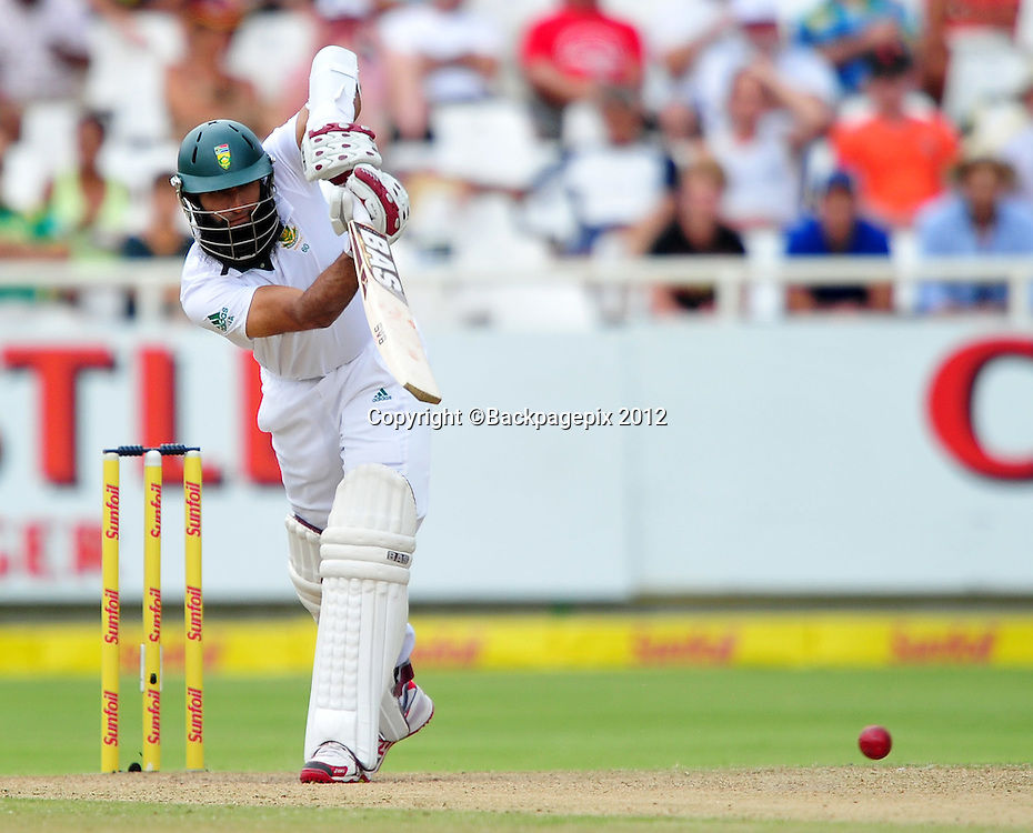 Hashim Amla of South Africa during day 2 of the Sunfoil Test Series 2014/15 game between South Africa and the West Indies at Newlands Stadium, Cape Town on 3 January 2015 ©Ryan Wilkisky/BackpagePix