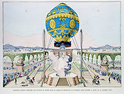Ascent in captive hot air balloon made by Francois Pilatre de Rozier (1754-85) in Paris, 11 October 1783. From Gaston Tissandier 'Histoire des Ballons', Paris, 1887