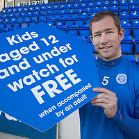 Frazer Wright promoting the kids under 12 free promotion at St Johnstone<br /> Picture by Graeme Hart.<br /> Copyright Perthshire Picture Agency<br /> Tel: 01738 623350  Mobile: 07990 594431