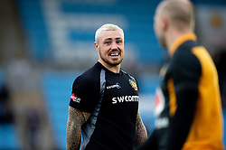 Jack Nowell of Exeter Chiefs laughs with Dan Robson of Wasps prior to kick off - Mandatory by-line: Ryan Hiscott/JMP - 30/11/2019 - RUGBY - Sandy Park - Exeter, England - Exeter Chiefs v Wasps - Gallagher Premiership Rugby