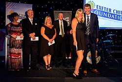 Rob Baxter and Legacy project winner Exeter Athletic Rugby representative - Ryan Hiscott/JMP - 06/08/2018 - RUGBY - Sandy Park - Exeter, England - Exeter Chiefs Season Launch Dinner