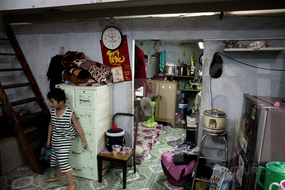 Cramped dwelling in a  low-income neighbourhood of Ho Chi Minh City, Vietnam, Southeast Asia.