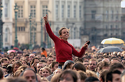 BRUSSELS, BELGIUM - OCT-1-2006 - A large crowd enjoys the 0110 Tolerance Music Festival in front of the Royal Palace in Brussels. A week before nationwide elections where immigration is a central theme, musicians united for a series of concerts across the nation promoting tolerance. (Photo © Jock Fistick).