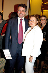 "BERNARD JENKIN MP and his wife ANNE  at the Vote No Dinner -The dinner is the first stage in building a ""£5m war chest for the campaign for a No vote in the forthcoming referendum on the constitution, held at the Savoy Hotel, London on 16th November 2004.<br />