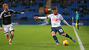 Jose Manuel Casado (Bolton) crosses the ball just ahead of Ryan Woods (Brentford) getting a tackle in during the Sky Bet Championship match between Bolton Wanderers and Brentford at the Macron Stadium, Bolton, England on 30 November 2015. Photo by Mark P Doherty.