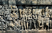 Java - Borabodur.  Stupa, c.AD 750-850, relief. Scene from a sutra.