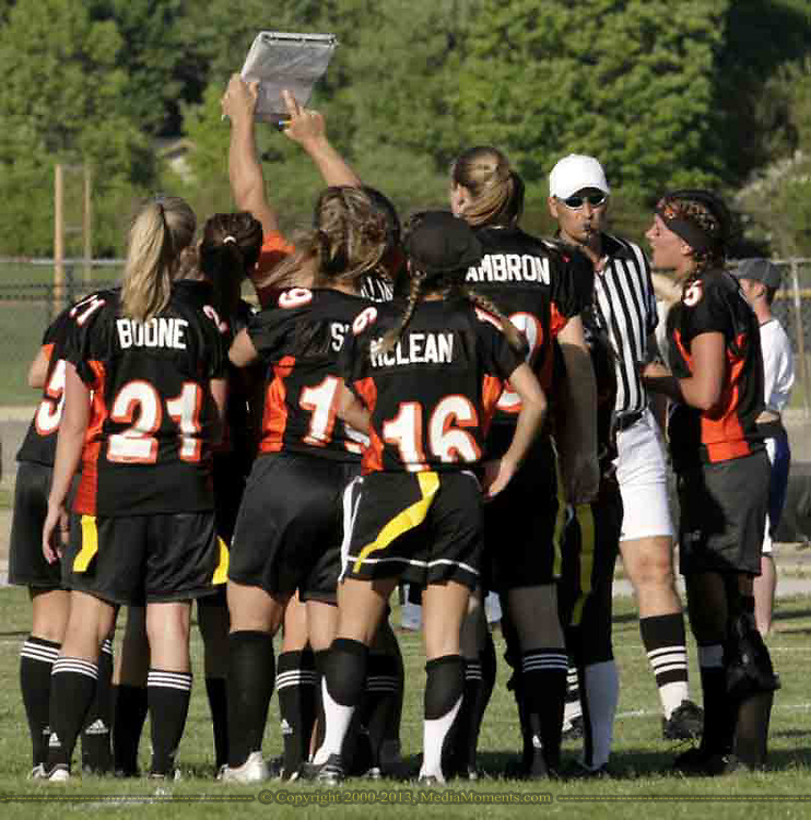 The seniors study a play during the 3rd Annual Powderpuff Challenge, the junior girls (class of 2008) against the senior girls (class of 2007.)