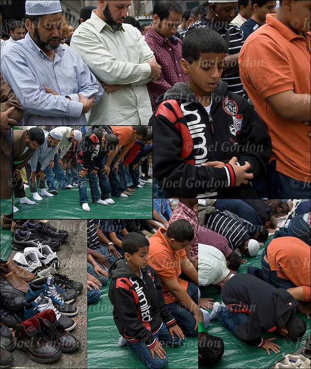 The second of the five daily prayers, the Zuhur prayer or noon prayer. <br /> <br /> Practicing American Muslims facing east, they alternately stand, knelt and touched foreheads to the ground before the annual American Muslim Day Parade show of ethnic pride and culture. <br /> <br /> These five daily prayers collectively are one of the Five Pillars of Islam  and one of the ten Practices of Religion for Muslims.
