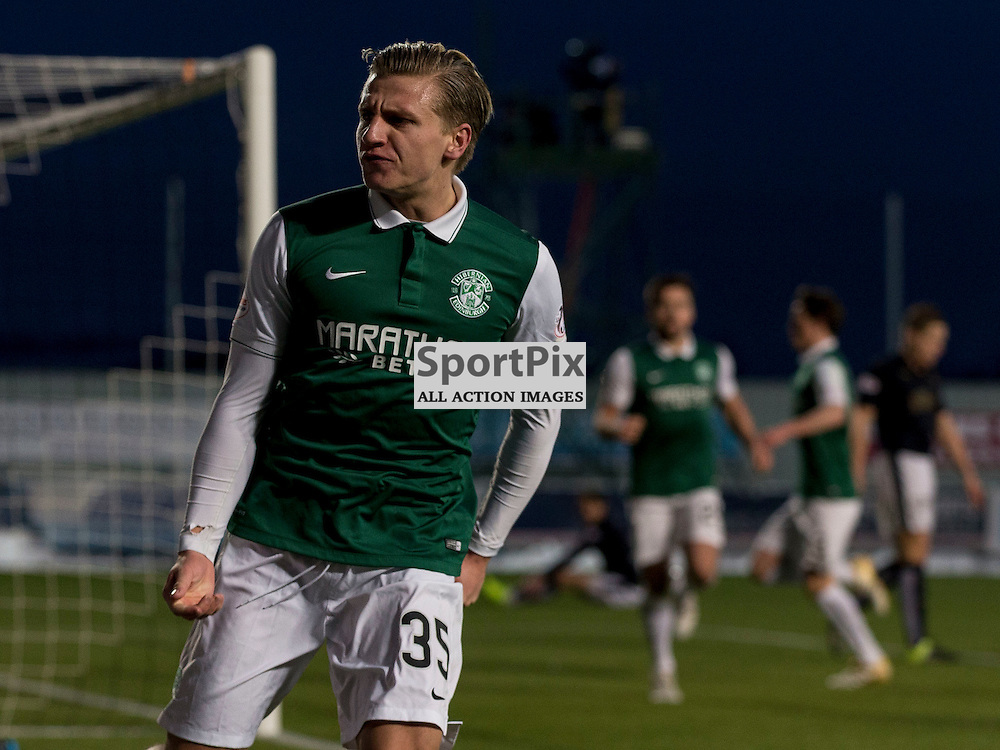Falkirk v Hibernian   SPFL season 2015-2016  <br /> <br /> Jason Cummings (Hibernian) celebrates goal during the Ladbrokes Championship match between Falkirk v Hibernian at Falkirk Stadium on Sunday 17 January 2016<br /> <br /> Picture: Alan Rennie