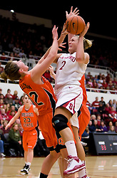 February 20, 2010; Stanford, CA, USA;  Stanford Cardinal forward/center Jayne Appel (2) collides with Oregon St. Beavers forward Kirsten Tilleman (32) during the first half at Maples Pavilion.  Stanford defeated Oregon State 82-48.