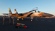 USA, Oregon, Hillsboro, F-15C Eagle in special livery for the 75th anniversary of the Oregon Air National Guard at Oregon International Airshow.
