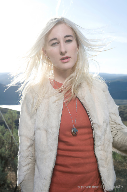 George, WA. - May 27th, 2012 Zola Jesus pose for a portrait backstage at the Sasquatch Music Festival in George, WA. United States