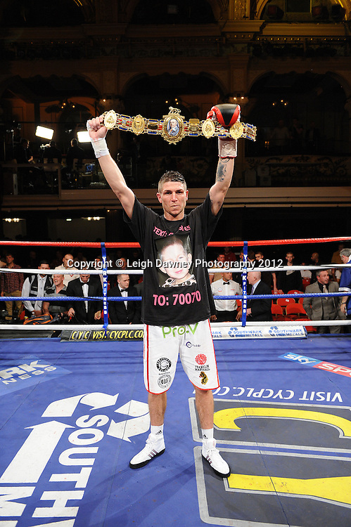 Brian Rose defeats Max Maxwell for the British Light Middleweight Champion at The Winter Gardens, Blackpool on the 31st March 2012. Frank Maloney and Steve Wood VIP Promotions. © Leigh Dawney Photography 2012.