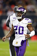 Minnesota Vikings rookie cornerback Mackensie Alexander (20) smiles on the sideline during the 2016 NFL week 8 regular season football game against the Chicago Bears on Monday, Oct. 31, 2016 in Chicago. The Bears won the game 20-10. (©Paul Anthony Spinelli)