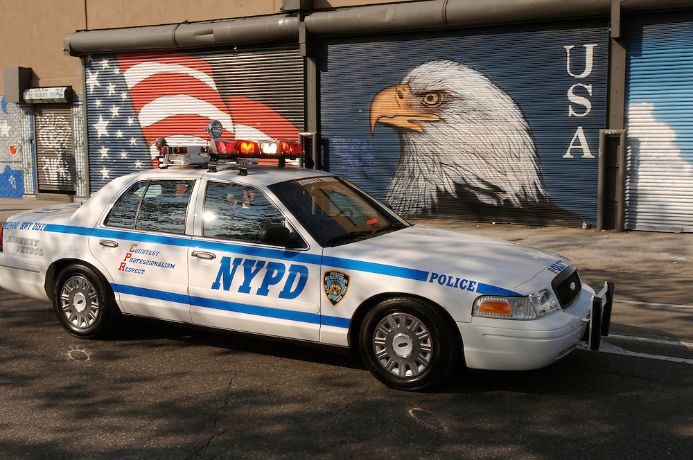 USA New York City Marathon 2006 Brooklyn Greenpoint Polizeiauto Streifenwagen amerikanische Flagge Stars Stripes Adler Marathonlaeufer Sportler Sport laufen Laeufer sportlich Amerika QF [Farbtechnik sRGB 34.94 MByte vorhanden]