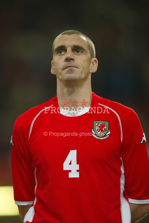 CARDIFF, WALES - Wednesday, February 18, 2004: Wales' Andy Melville pictured before the international friendly match against Scotland at the Millennium Stadium. (Pic by David Rawcliffe/Propaganda)