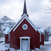 Flakstad Church (1780), Lofoten, Norway, Europe