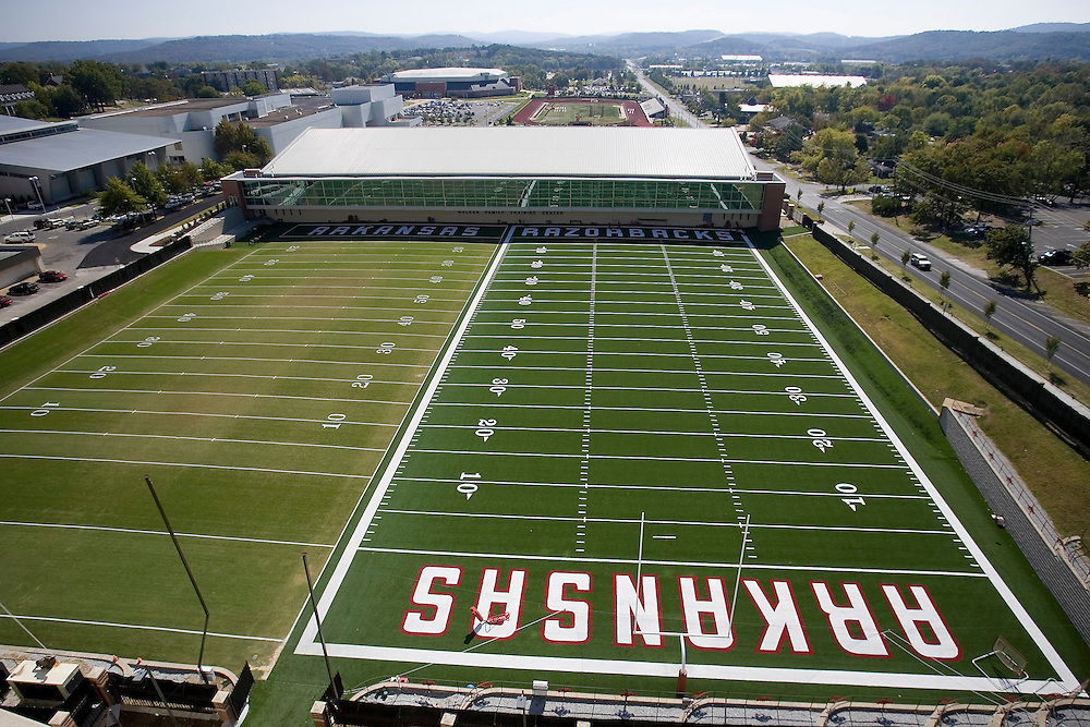 FAYETTEVILLE, AR - October 10:  Arkansas Razorback football team practice field on the campus of the University of Arkansas on October 10, 2006 in Fayetteville, Arkansas.   (Photo by Wesley Hitt/Getty Images) *** Local Caption ***