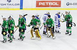 Raphael Bussieres (HDD Olimpija), Kristof Potocnik (HDD Olimpija), Gilbert Gabor (HDD Olimpija), Jeff Frazee (HDD Olimpija), Tilen Spreitzer (HDD Olimpija), Sacha Guimond (HDD Olimpija) during ice-hockey match between HDD Olimpija Ljubljana and EC VSV in EBEL League 2016/17, on February 19, 2017 in Hala Tivoli, Ljubljana, Slovenia. Photo by Vid Ponikvar / Sportida